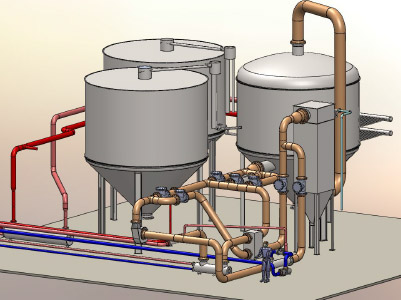 Thermochemical reactor with storage tanks and tubing